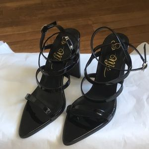 Black faux patent strappy shoes / 8